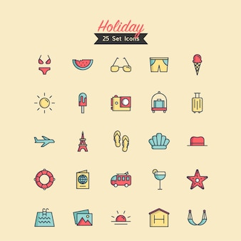 Holiday icons vector filled outline style