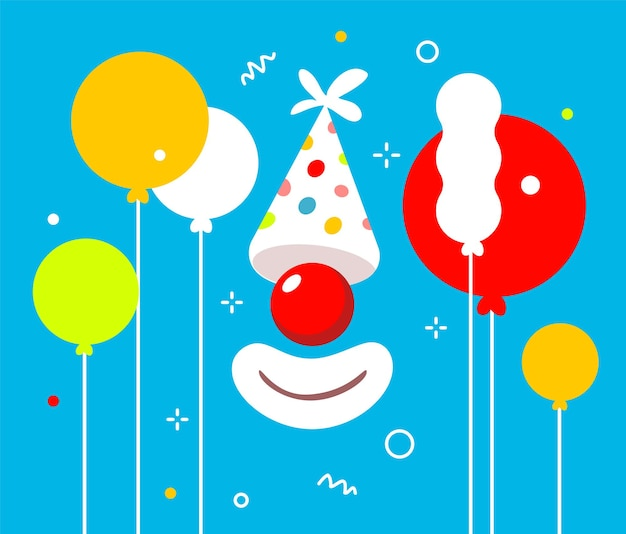 Holiday illustration of birthday hat and red clown nose with mouth on blue color background