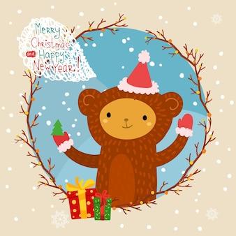 Праздничная иллюстрация с милой обезьяной в красной шляпе