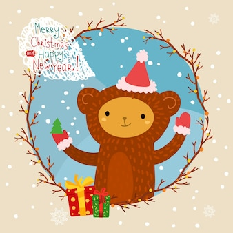Holiday illustration with a cute monkey in red hat