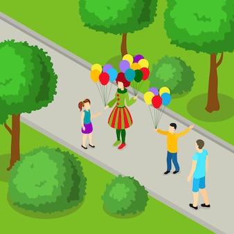 公園等尺性デザインの休日
