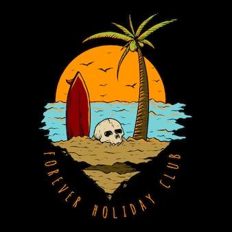 ビーチでの休暇 Premiumベクター