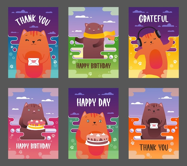 Holiday leaflets with funny cats vector illustration set
