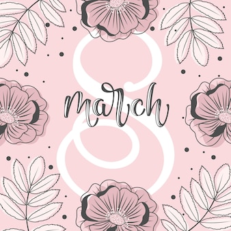 Holiday on march 8. greeting card with flowers, sweets, branches, romantic elements and handwritten text.