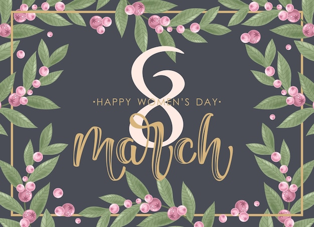 Holiday on march 8. greeting card with flowers, sweets, branches, romantic elements and handwritten text. Premium Vector
