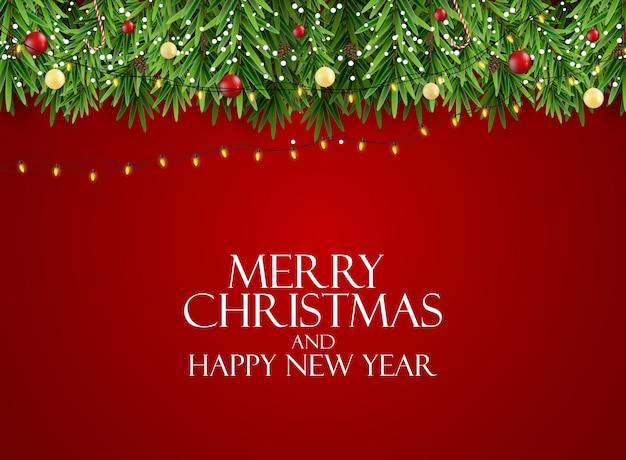 휴일 새 해와 현실적인 크리스마스 나무와 메리 크리스마스 배경. 삽화