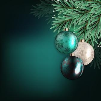 現実的なクリスマスツリーと休日正月とメリークリスマスの背景。