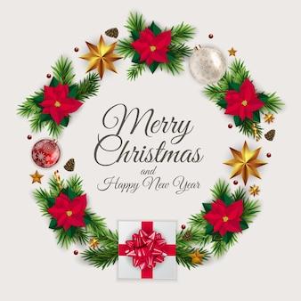 現実的なクリスマスリース、ポインセチアの花と休日の新年とメリークリスマスの背景
