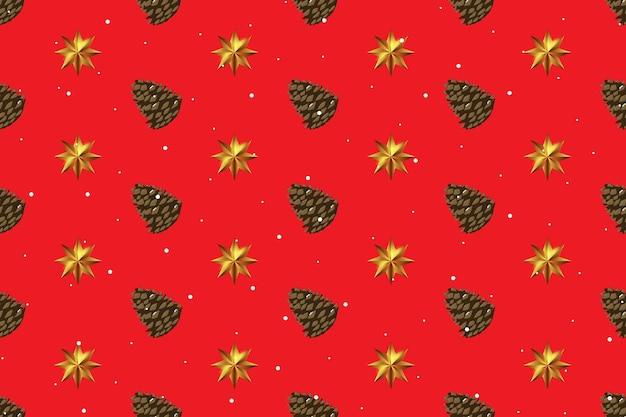 Праздник нового года и счастливого рождества бесшовный фон фон с шишкой и золотой звездой. векторная иллюстрация eps10
