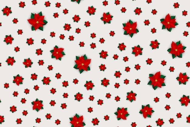 포 인 세 티아 꽃과 휴일 새 해와 메리 크리스마스 완벽 한 패턴 배경. 벡터 일러스트 레이 션 eps10