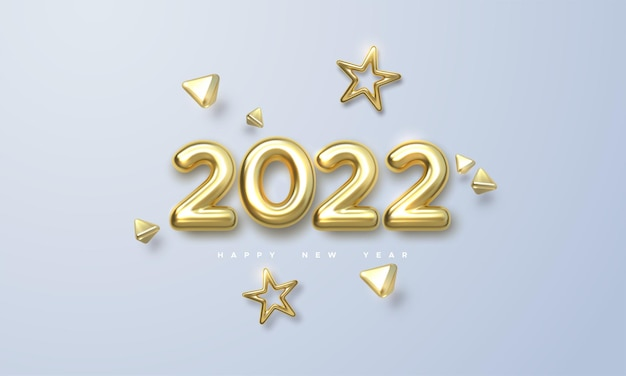 Holiday new year illustration of golden metallic numbers 2022 and 3d gold shapes