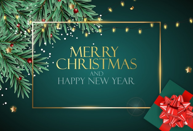 Holiday new year and merry christmas background with realistic christmas tree.  illustration