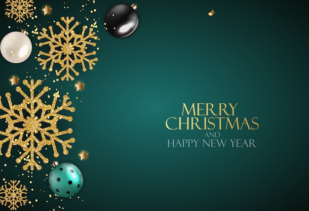 Holiday new year and merry christmas background with realistic christmas tree. vector illustration