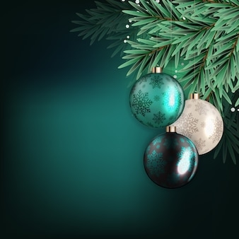 Holiday new year and merry christmas background with realistic christmas tree.