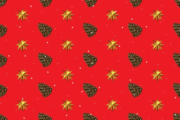 Holiday new year and merry christmas seamless pattern background with pine cone and golden star. vector illustration eps10