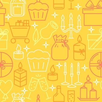 Holiday objects seamless pattern