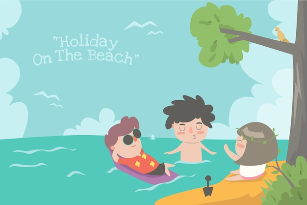 해변에서 휴가 플랫 ilustration 귀여운 아이 desin