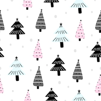 Holiday pattern for christmas with trendy tree drawing