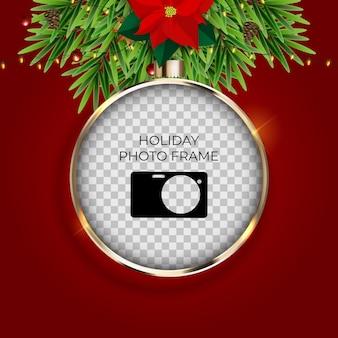 휴일 사진 프레임 템플릿. 기쁜 성 탄과 새 해 복 많이 받으세요 배경입니다.