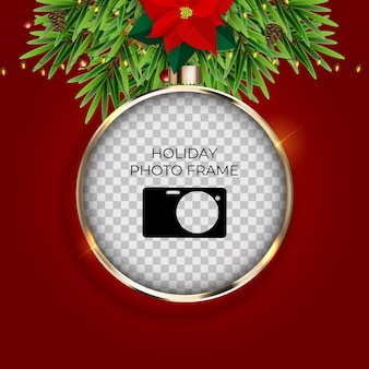 Holiday photo frame template. merry christmas and happy new year background.