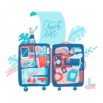 Holiday planning travel with big suitcase.