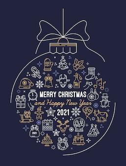 Праздничная открытка с игрушечным мячом и контурными иконами