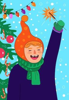 휴일 포스터 아이는 웃고 야외에서 반짝이는 행복한 어린 소녀를 안고 새해를 축하하고