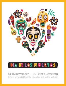Шаблон праздничного плаката, украшенный мексиканскими калаверами или черепами, свечами, маракасами, цветами, расположенными в сердце