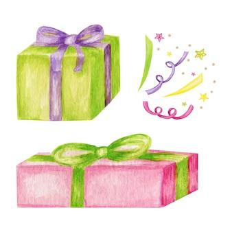 ホリデープレゼント色のギフトボックス、包装の山。 waterccolor漫画イラスト