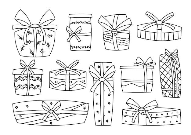 ホリデープレゼント、レトロなブラックラインセット。輪郭テンプレート、リボン付きギフトボックス。クリスマスサプライズ