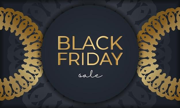 Шаблон праздничного продвижения черная пятница распродажа темно-синий с круглым золотым орнаментом