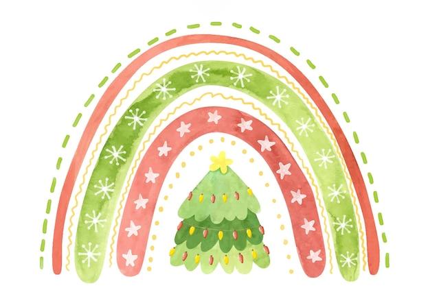 Праздничная радуга со снежинками, звездами и елкой акварель зима клипарт