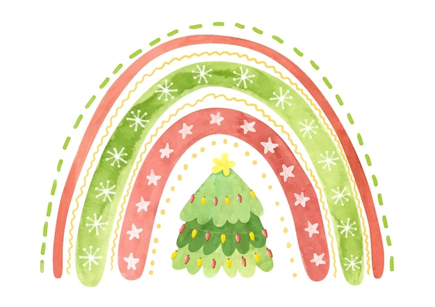 Arcobaleno natalizio con stelle fiocchi di neve e albero di natale clipart inverno acquerello