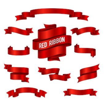 Holiday red glossy ribbon banners vector set for congratulations decoration.