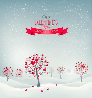 Holiday retro background. valentine trees with heart-shaped leaves.