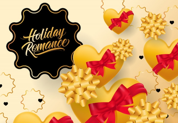 Holiday romance lettering in frame on gradient background