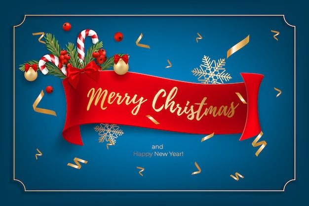 Holiday's background for merry christmas and happy new year greeting card with a realistic christmas balls, candy canes, red berries