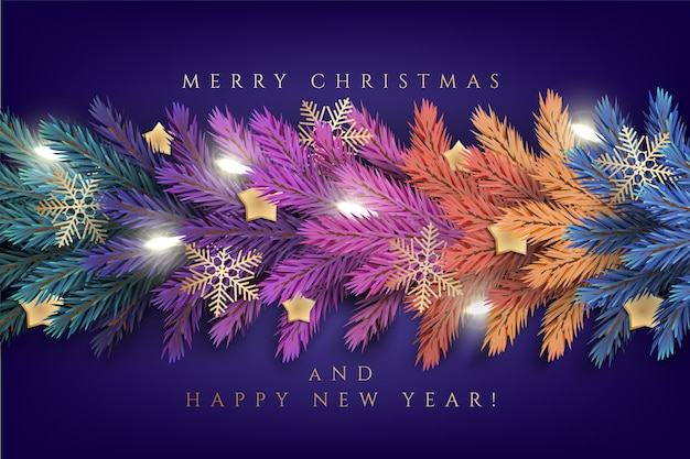 Holiday's  for merry christmas greeting card with a realistic colorful garland of pine tree branches, decorated with christmas lights, gold stars, snowflakes