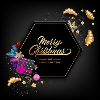Holiday's  for merry christmas greeting card with a realistic colorful objects, decorated with christmas balls, gold stars, snowflakes, curling party ribbons and gift box