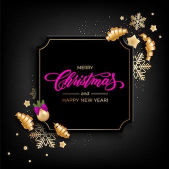 Открытка holiday's merry christmas с реалистичными красочными предметами, украшенными елочными шарами, золотыми звездами, снежинками, керлинг-лентой для вечеринок