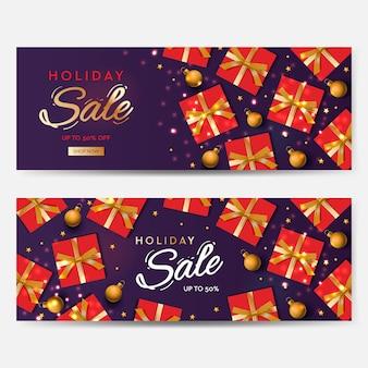 웹사이트 벡터 이미지에 대 한 휴일 판매 배너 크리스마스 보라색 가로 배경 헤더