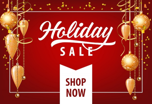 Holiday sale with festive decoration coupon design