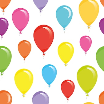 Holiday seamless pattern background with colorful balloons.