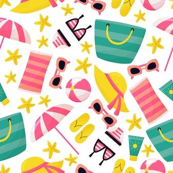 休日のシームレスなパターン。かわいい漫画のビーチアクセサリー:サングラス、ビーチバッグ、ヒトデ、サンクリーム、水着、ビーチサンダル。夏休み。