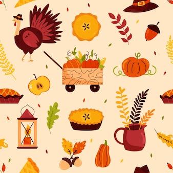 유명한 기호 칠면조, 파이, 호박과 함께 추수 감사절에 대 한 휴일 완벽 한 패턴입니다. 귀하의 디자인에 대 한 벡터 일러스트 레이 션