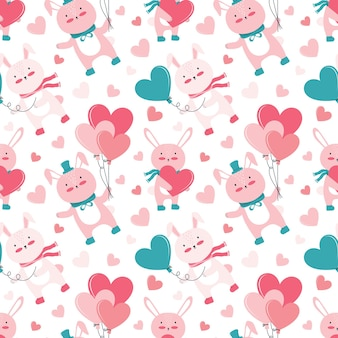 Holiday seamless pattern for happy valentine's day. cute pink bunnies with gifts and balloons