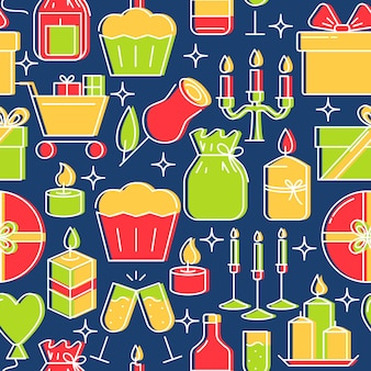Holiday seamless pattern in line style