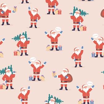 만화 산타 클로스 크리스마스 트리 장식 요소와 휴일 완벽 한 패턴