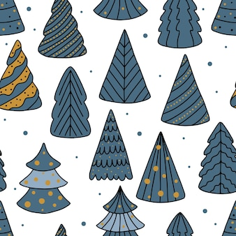 Holiday seamless pattern with christmas tree. xmas winter background.
