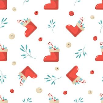 クリスマスツリーと装飾的な要素を持つ休日のシームレスなパターン。包装紙、ギフトボックス、布地の新年のデザイン。